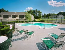 View of the pool area at Forest Properties' Parke Place Village in Seabrook, New Hampshire