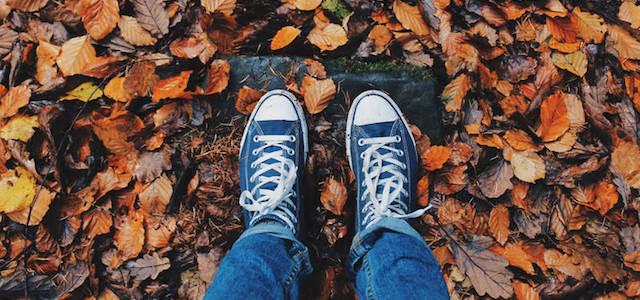 Two feet walking on autumn leaves outside.