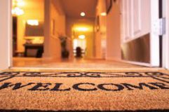 Close-up shot of a welcome mat
