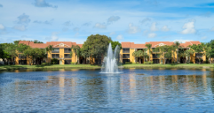 Exterior shot of the fountain at Forest Pointe