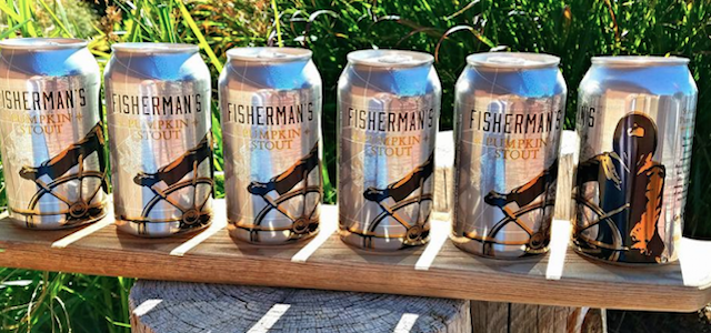 A line of canned beer from Cape Ann Brewing Company.