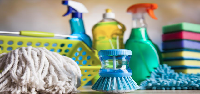 A collection of cleaning supplies for apartments.