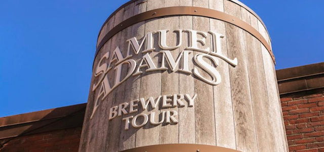 A wooden barrel at Sam Adams in Boston, MA where tours are held.