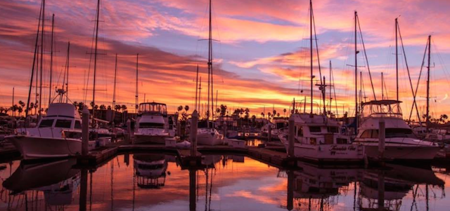 A beautiful sunset view of Manatee River at Pier 22 in Bradenton, Florida.
