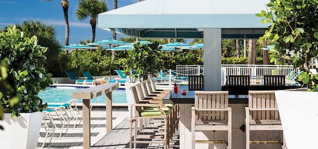 The outdoor pool bar at The Resort at Longboat Key Club in Sarasota, FL.