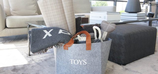A grey colored living room with a bag of dog toys packed.