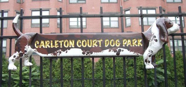 A sign for Carelton Court Dog Park in Boston, MA.