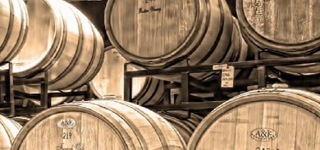 Wooden barrels of wine.