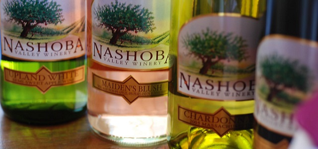 Four bottles of wine from Nashoba Valley Winery near Boston, MA.
