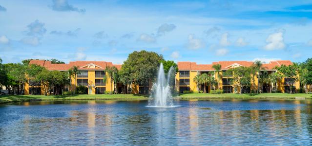 The fountain at Audubon Cove Apartments
