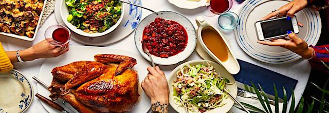 thanksgiving table with many varieties of food