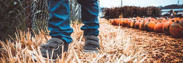 kids feet walking on hay in the pumpkin patch