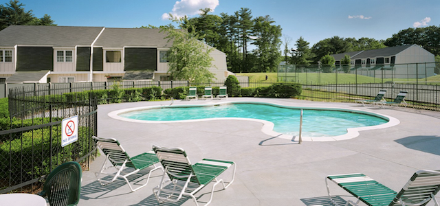 parke place village apartment pool during the summertime.