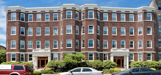the exterior of the parkside apartments in boston.