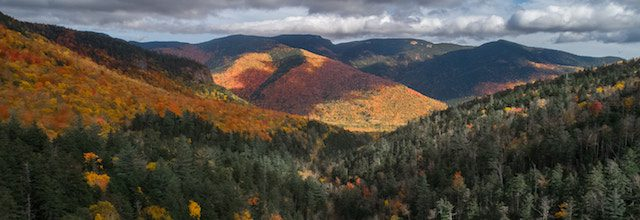 mountain view of fall leaves in new hampshire